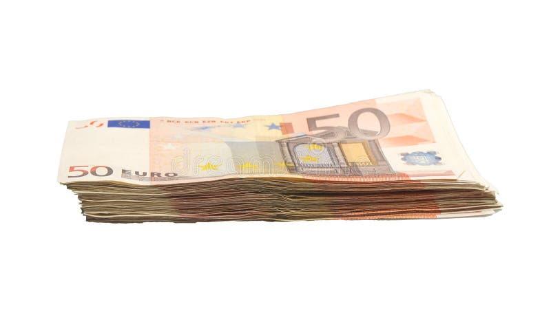 Un mucchio di 50 euro fatture fotografia stock