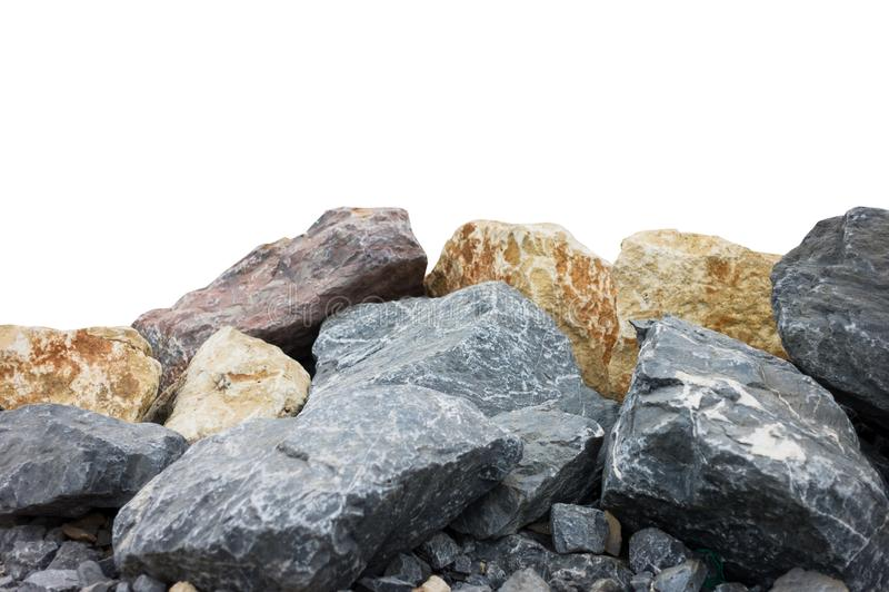 Un mucchio di grandi pietre naturali del granito isolate su un fondo bianco immagine stock libera da diritti