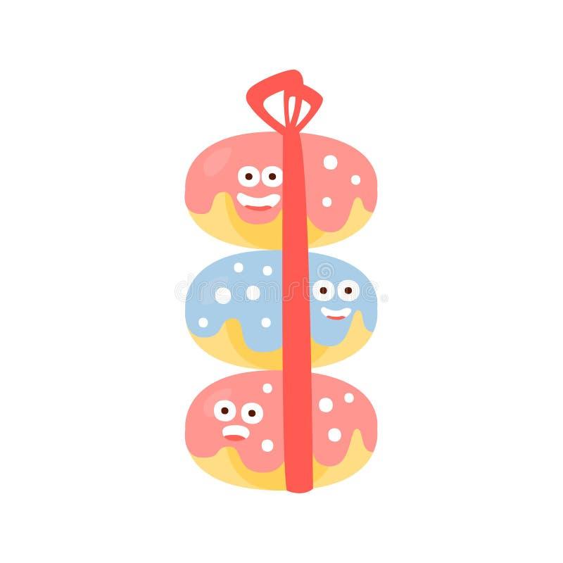 Un mucchio di tre ciambelle con il carattere umanizzato felice del fumetto di attributo della festa di compleanno dei bambini del royalty illustrazione gratis
