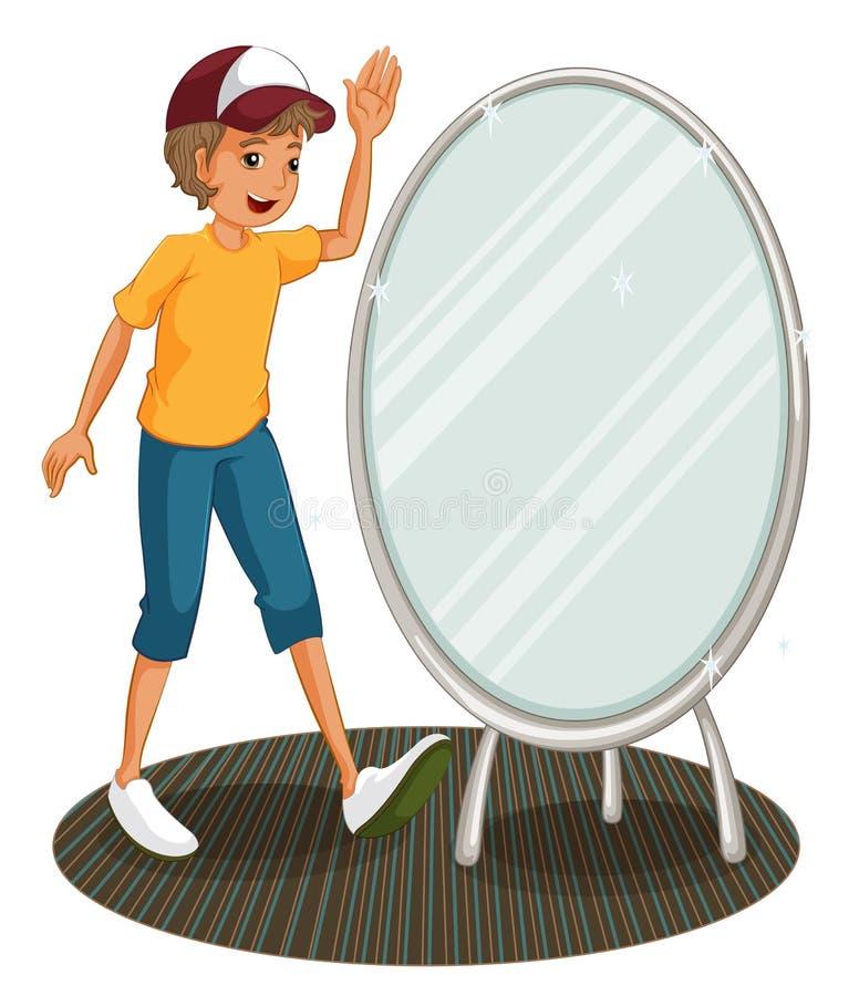 Un muchacho al lado de un espejo ilustración del vector