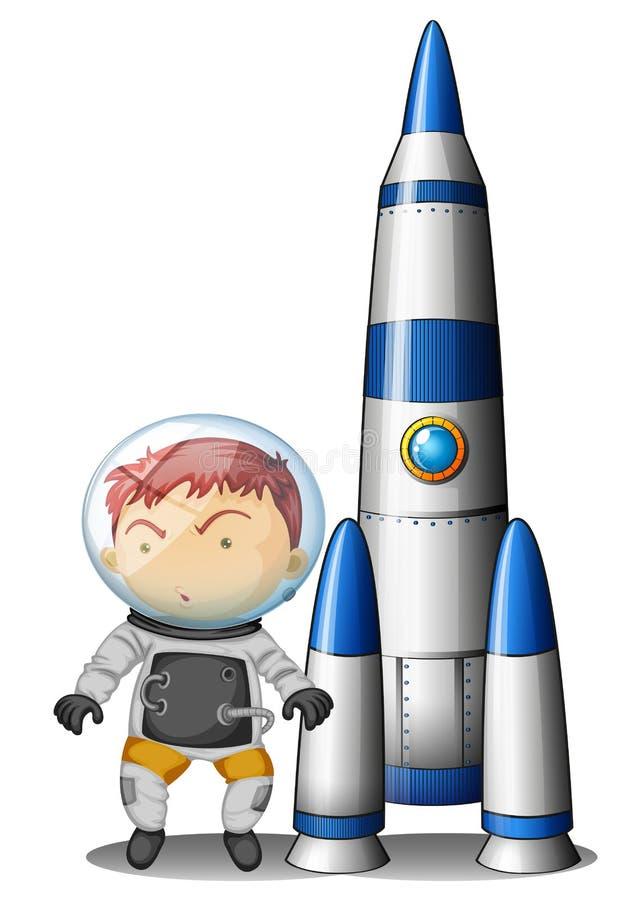 Un muchacho al lado del cohete ilustración del vector