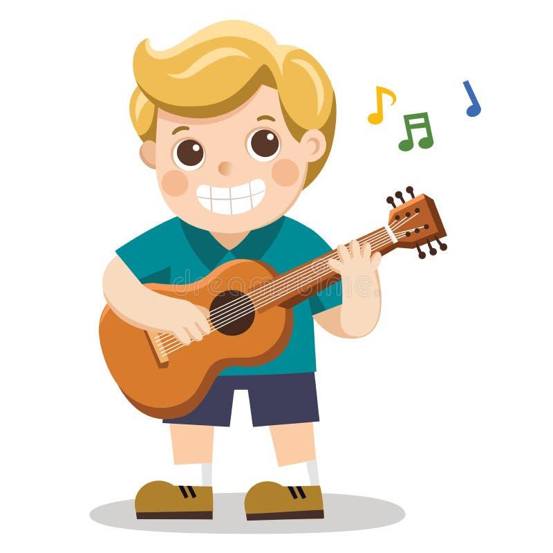 Un muchacho alegre que toca la guitarra y que canta feliz stock de ilustración