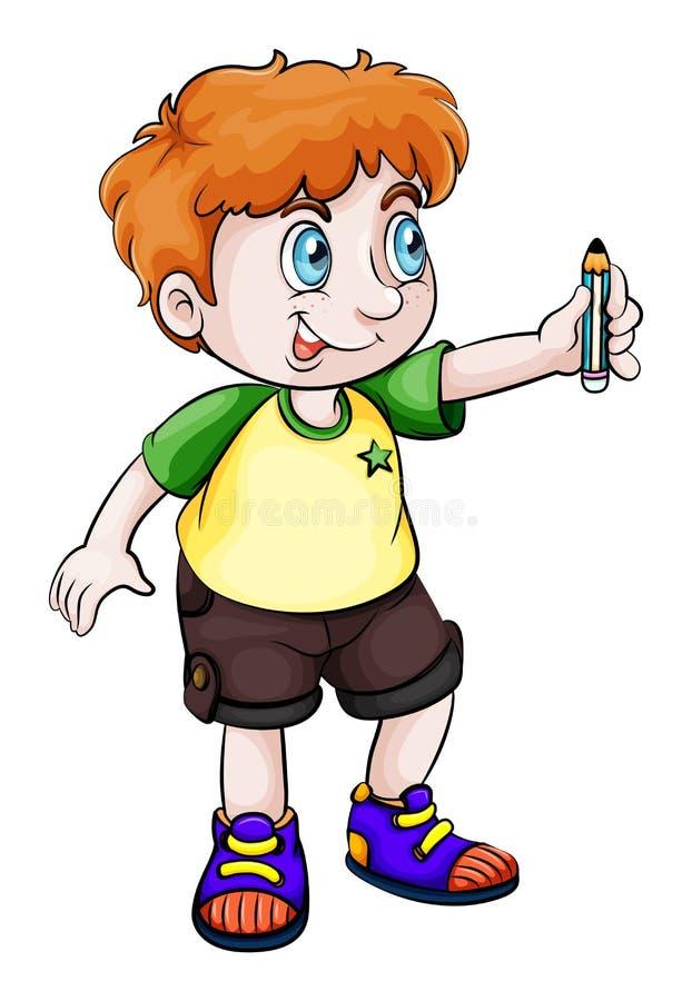 Un muchacho asiático que sostiene un lápiz stock de ilustración