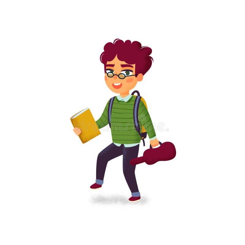 Un muchacho con el libro, el violín y la mochila en el fondo blanco Lecciones de música Escuela del estudiante de la música Escue stock de ilustración