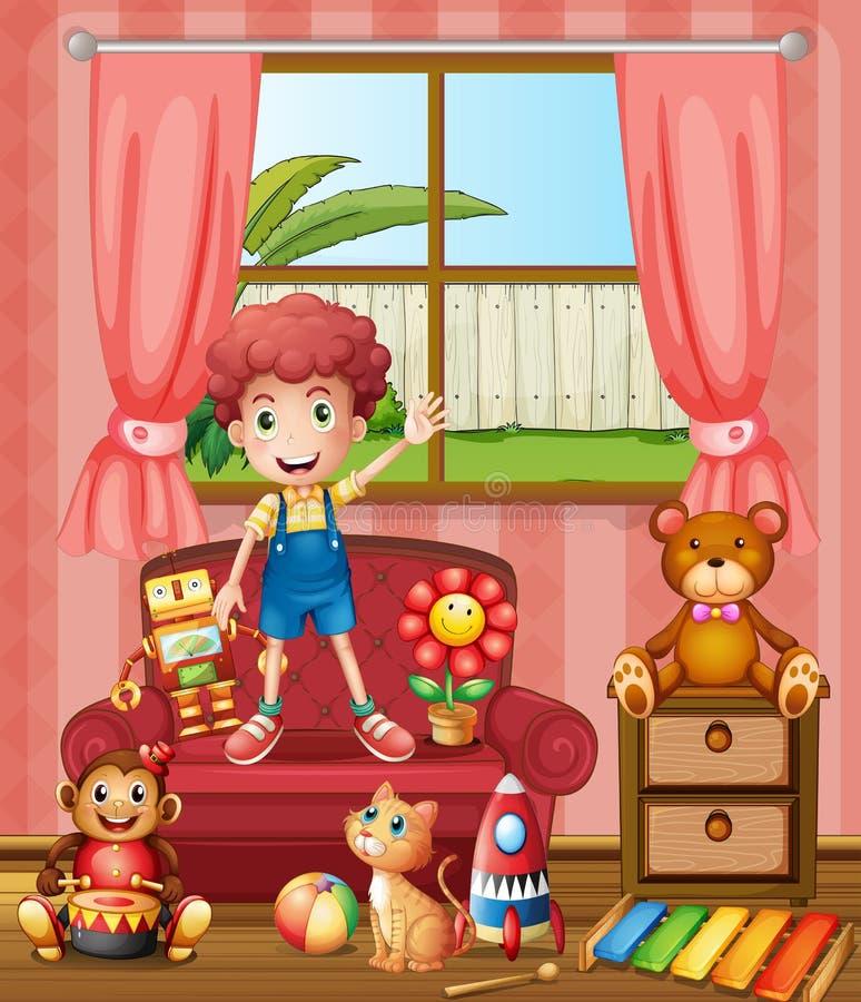 Un muchacho con su gato y juguetes ilustración del vector