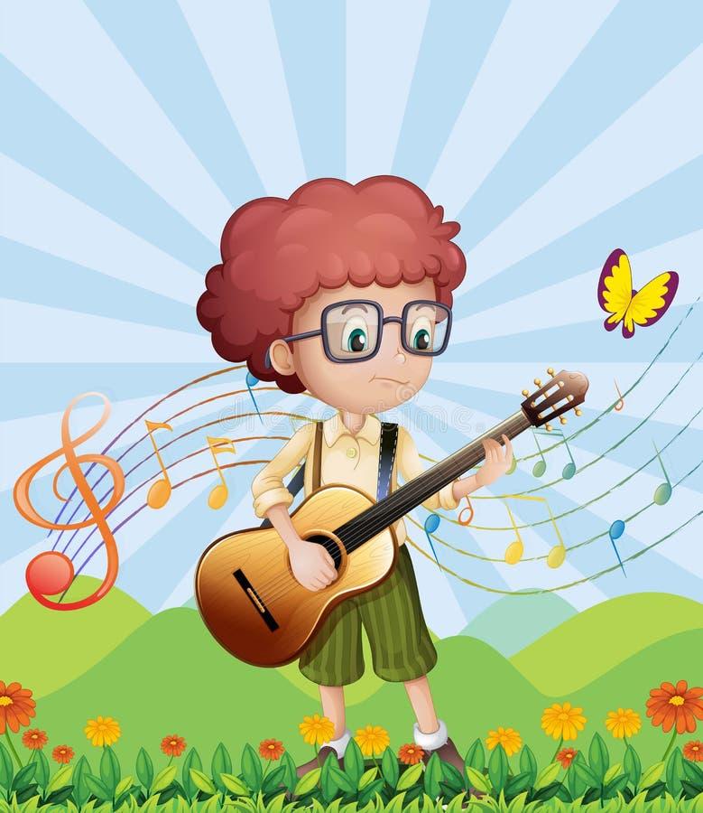 Un muchacho con su guitarra en las colinas libre illustration
