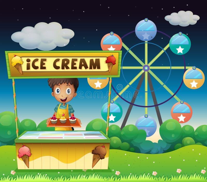 Un muchacho con una parada del helado cerca de la noria ilustración del vector