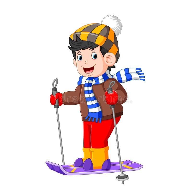 Un muchacho del teenger se está colocando en su tablero del patinaje de hielo con la buena presentación libre illustration