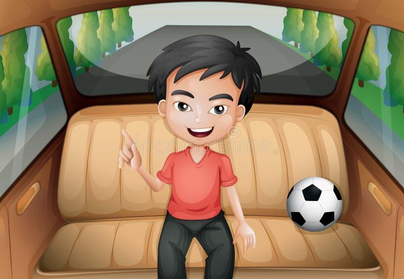 Un muchacho dentro del coche con un balón de fútbol ilustración del vector