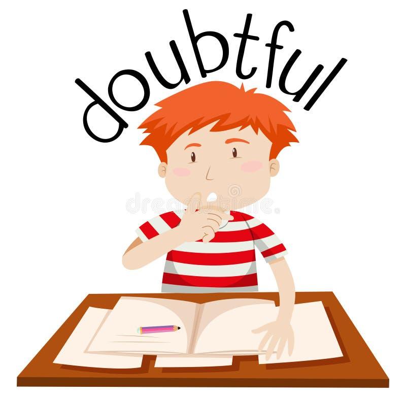 Un muchacho dudoso en el fondo blanco ilustración del vector