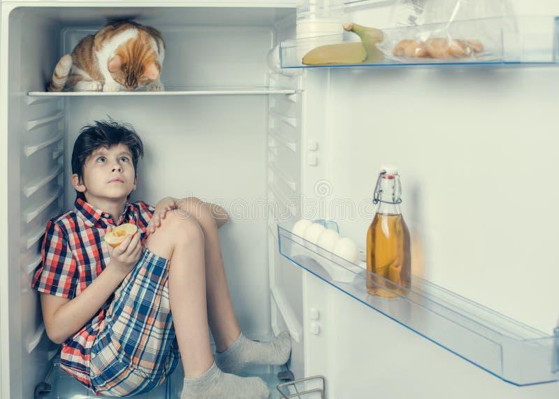 Un muchacho en una camisa y pantalones cortos con el gato rojo que mira uno a dentro de un refrigerador con la comida y el produc imagen de archivo