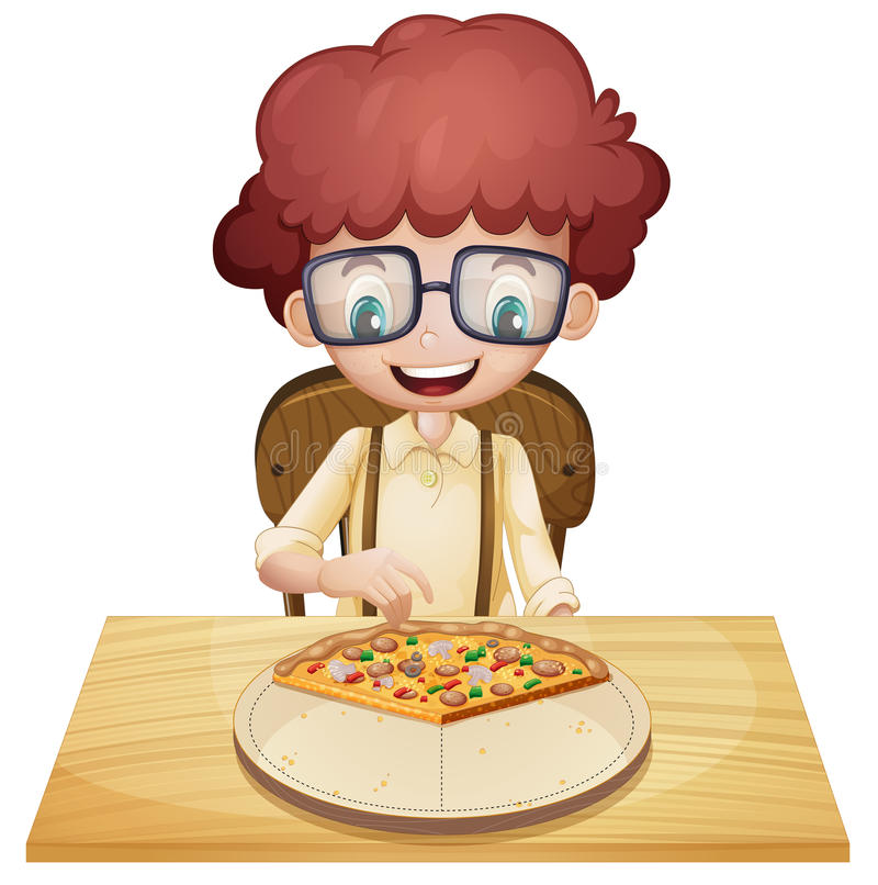 Un muchacho feliz que come la pizza stock de ilustración