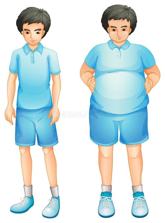 Un muchacho fino y gordo en un uniforme azul del gimnasio ilustración del vector