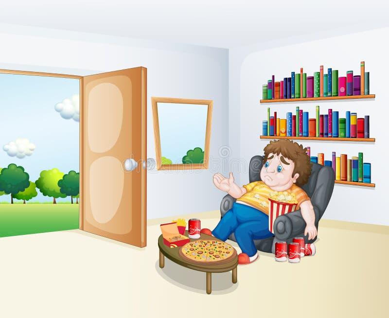 Un muchacho gordo triste que se sienta en el sofá delante de los estantes stock de ilustración