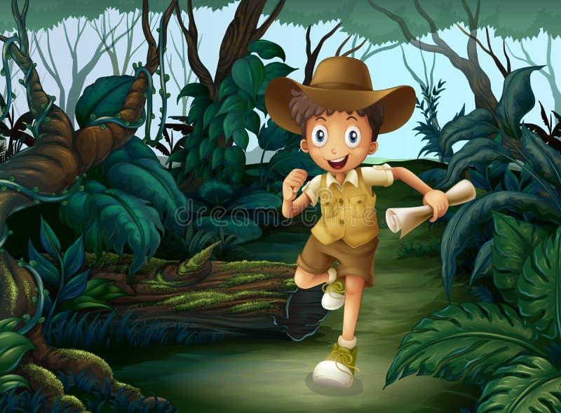 Un muchacho joven en el medio de las maderas ilustración del vector