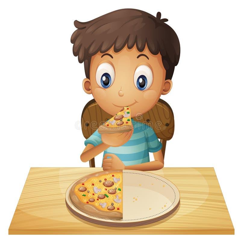 Un muchacho joven que come la pizza libre illustration