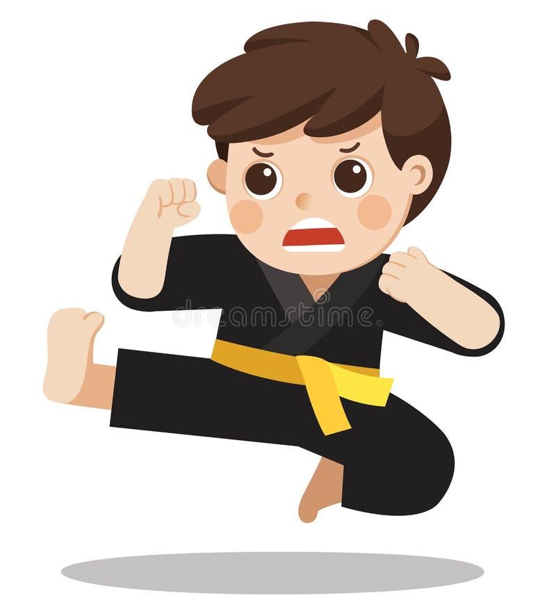 Un muchacho lindo que muestra sus movimientos del karate ilustración del vector