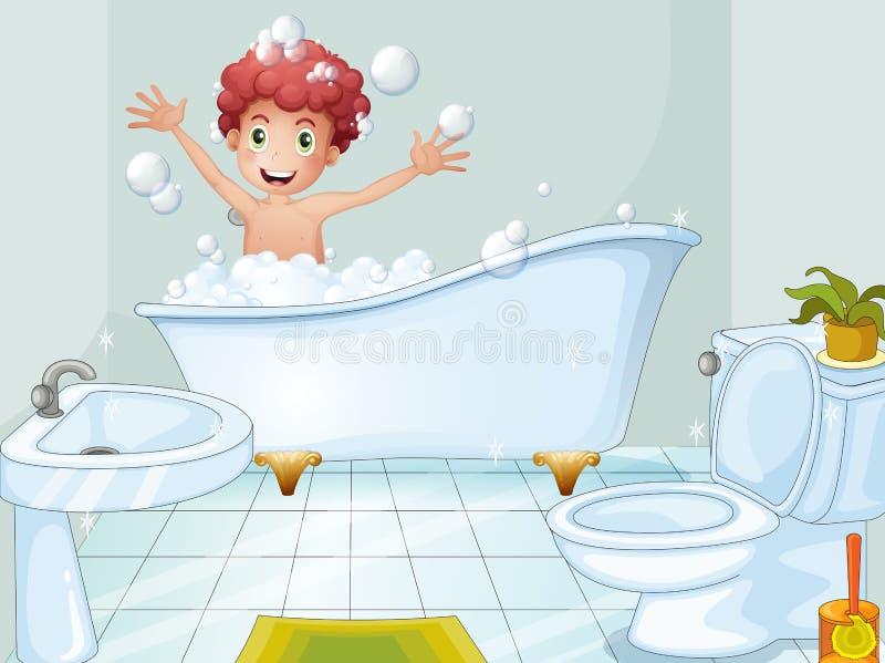 Un muchacho lindo que toma un baño stock de ilustración