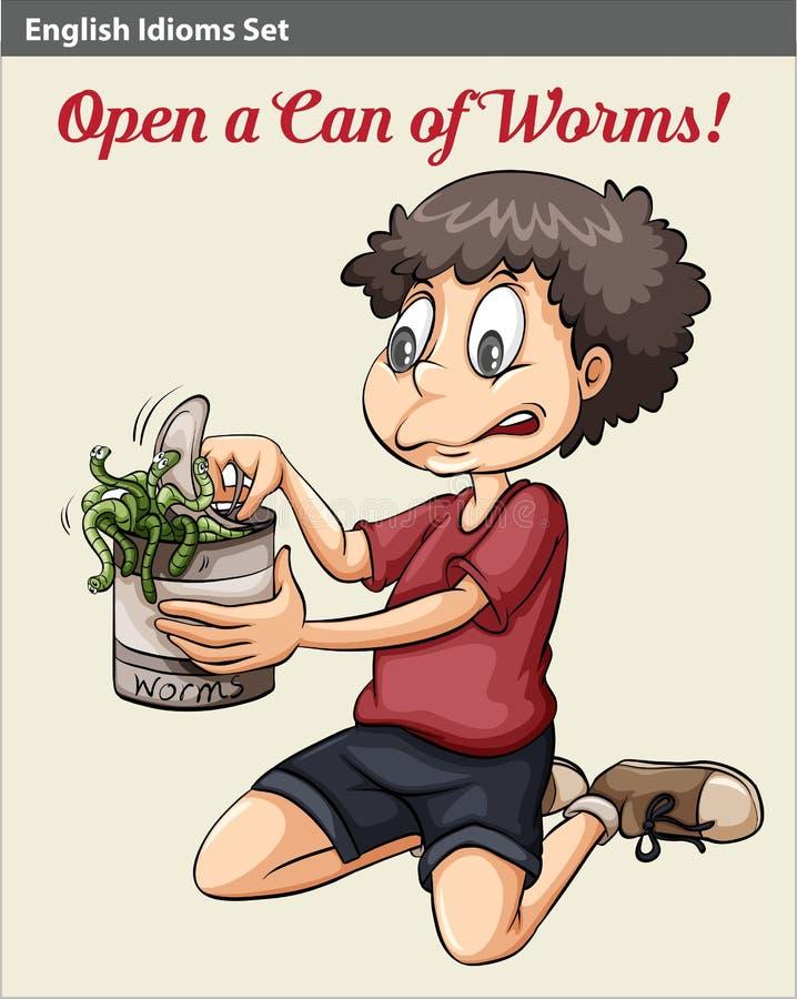 Un muchacho que abre una poder de gusanos stock de ilustración