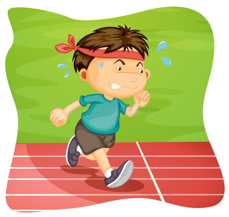 Un muchacho que corre en pista corriente libre illustration