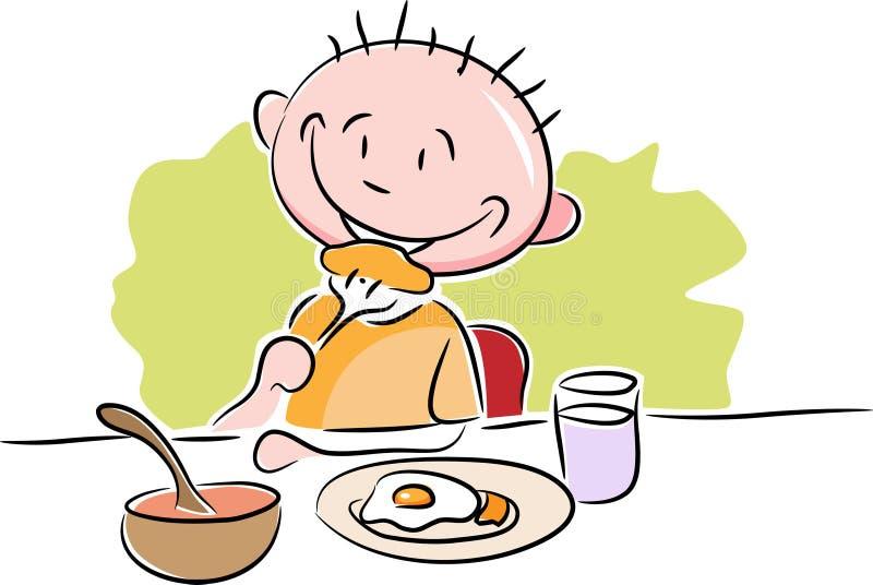 Un muchacho que desayuna stock de ilustración