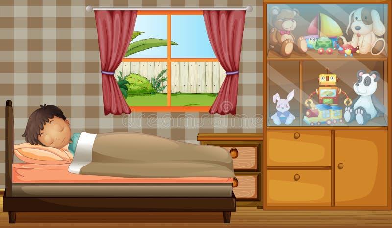 Un muchacho que duerme en su dormitorio libre illustration