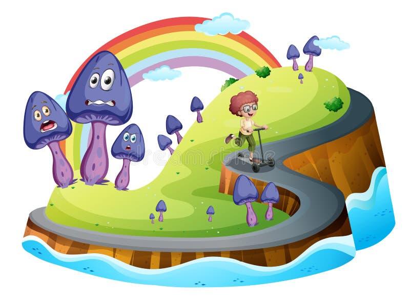 Un muchacho que juega con su vespa en el camino rodeado con el mushr libre illustration