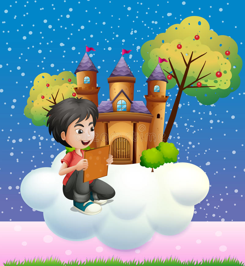 Un muchacho que lee un libro delante del castillo flotante libre illustration