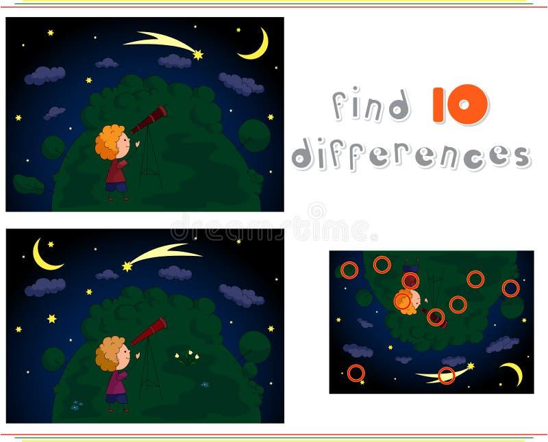Un muchacho que mira las estrellas con un telescopio en el bosque E de la noche ilustración del vector