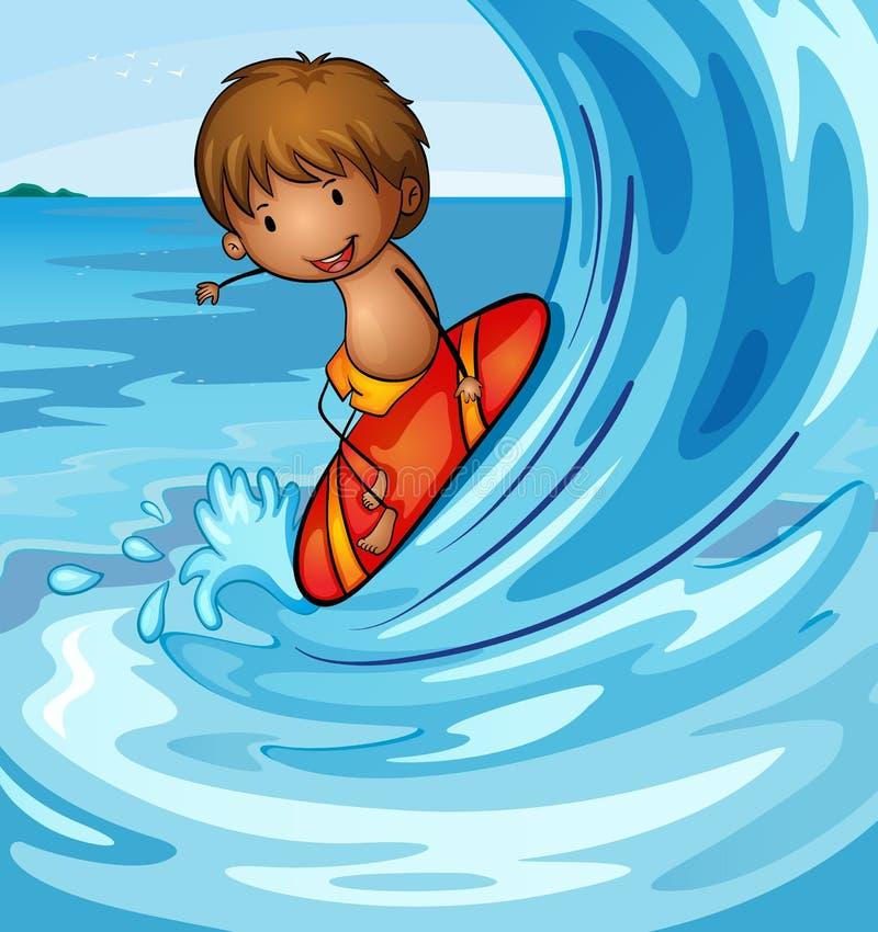 Un muchacho que practica surf en el mar ilustración del vector