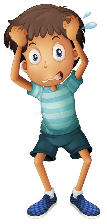 Un muchacho que rasguña su cabeza ilustración del vector