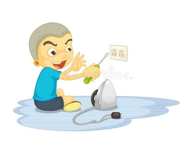 Un muchacho que repara el interruptor eléctrico libre illustration