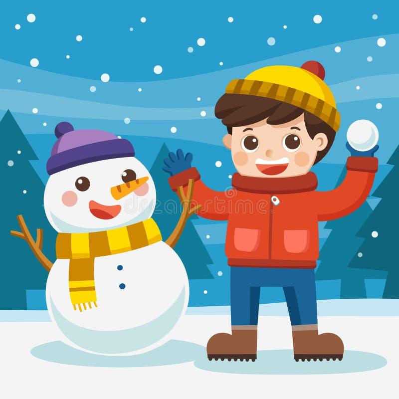 Un muchacho que se divierte con el muñeco de nieve en un paseo nevoso del invierno libre illustration