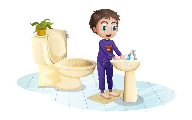 Un muchacho que se lava las manos en el fregadero ilustración del vector