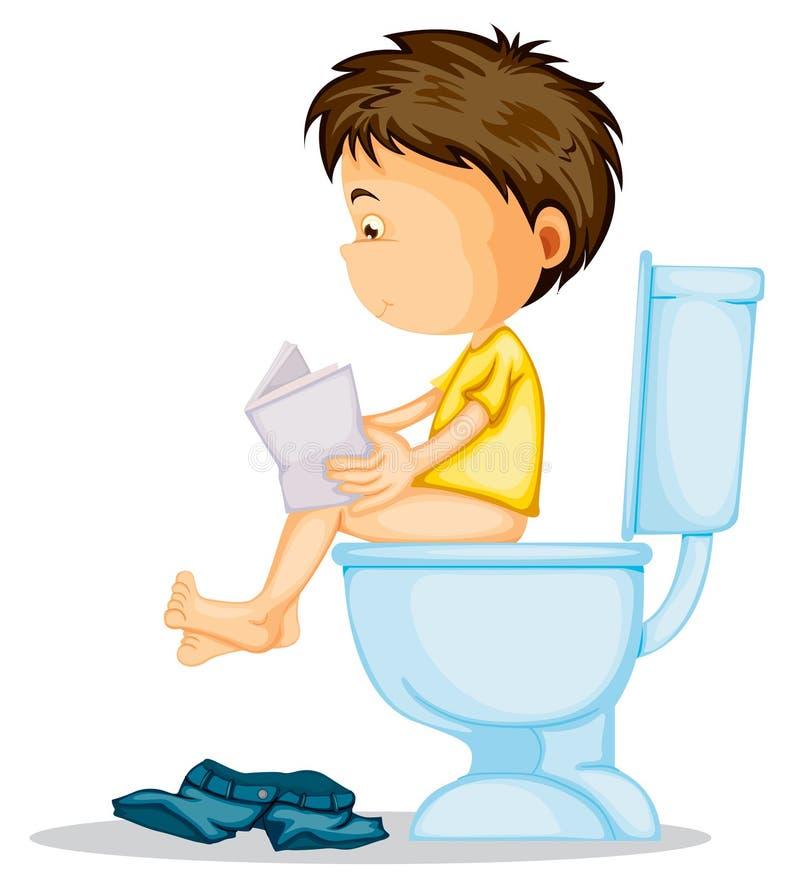 Un muchacho que se sienta en cómoda libre illustration