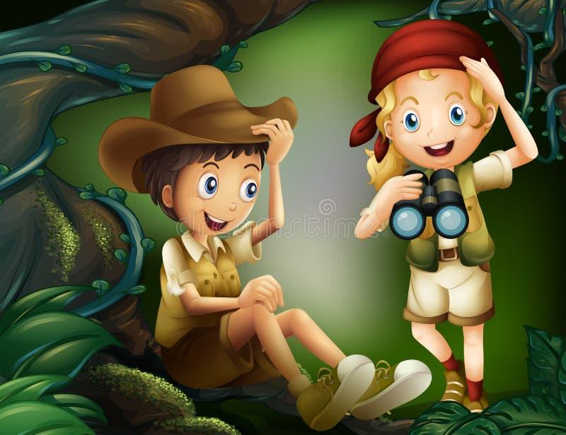 Un muchacho que se sienta en la raíz de un árbol y una muchacha con un telescopio ilustración del vector
