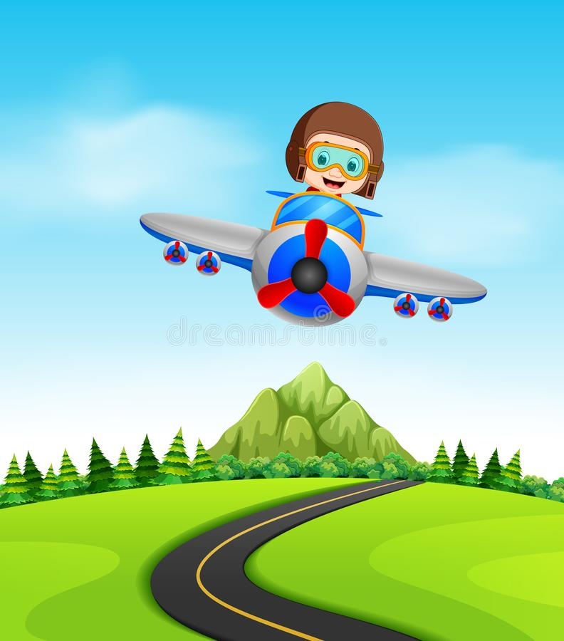 Un muchacho que vuela un avión ilustración del vector