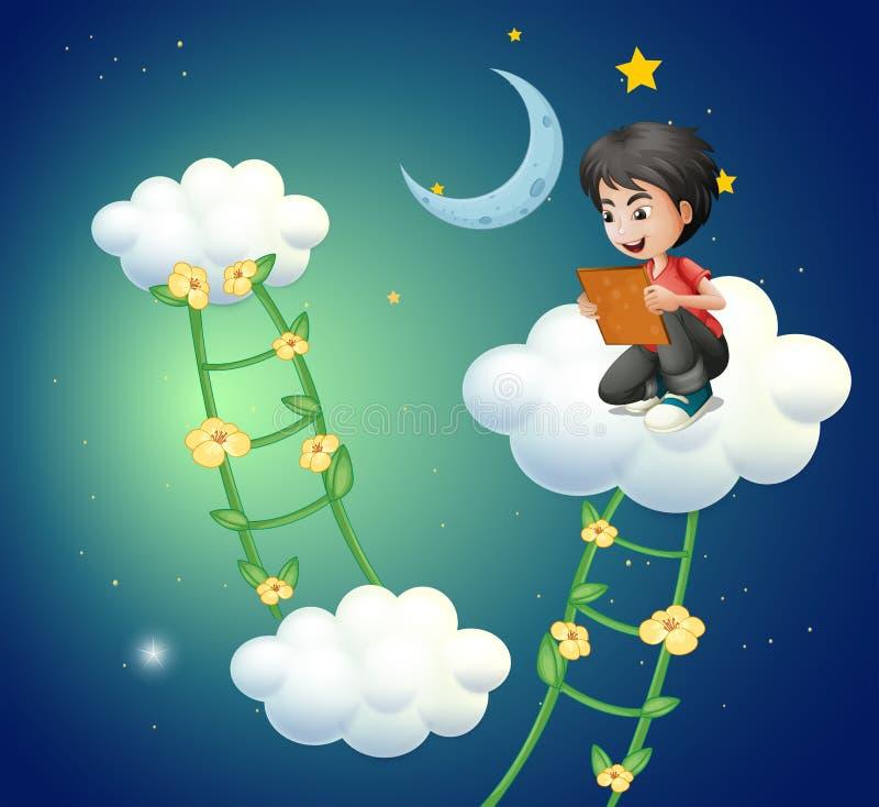 Un muchacho sobre la nube que mira una imagen libre illustration