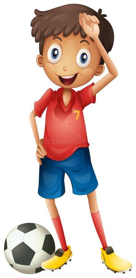 Un muchacho sonriente y un fútbol ilustración del vector