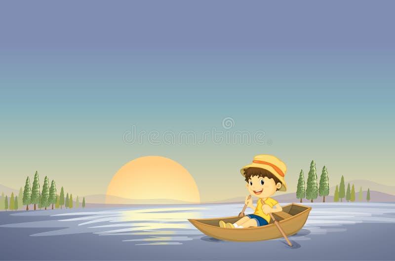 Un muchacho y un barco ilustración del vector