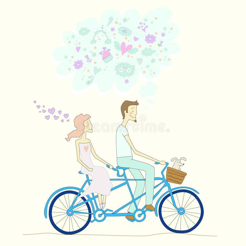 Un muchacho y una muchacha que montan la bicicleta en tándem libre illustration