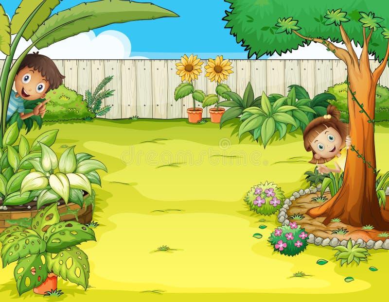 Un muchacho y una muchacha que ocultan en el jardín stock de ilustración