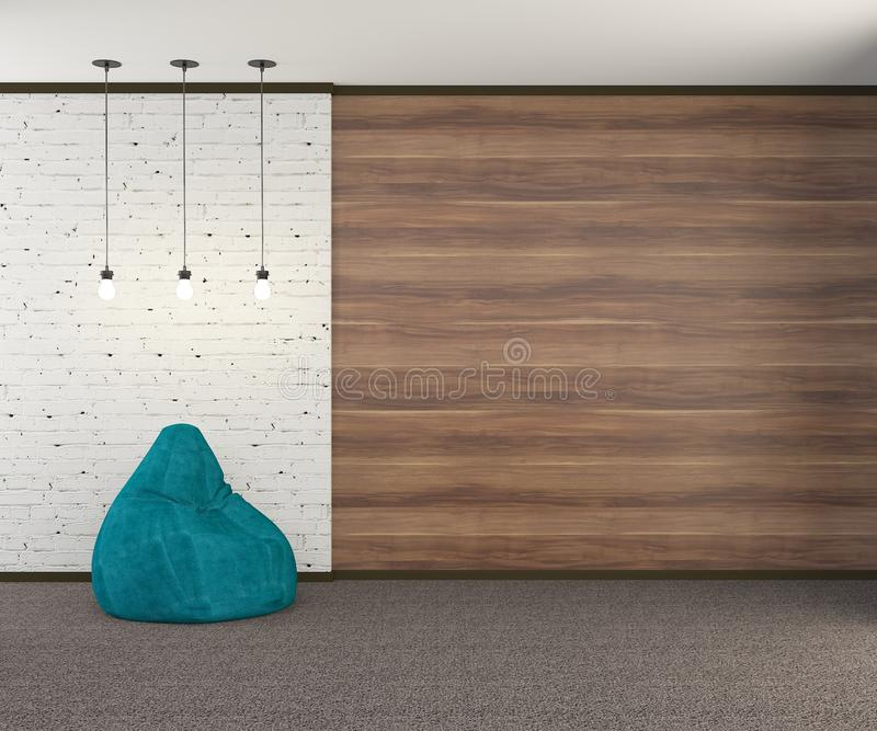 Un mur de style du grenier avec un fauteuil de turquoise et trois ampoules rendu 3d illustration de vecteur