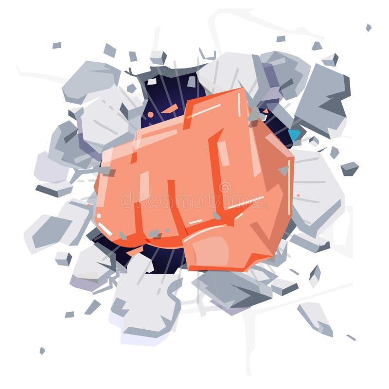 Un mur est cassé par une main de poing frapper et dama de poinçon illustration libre de droits