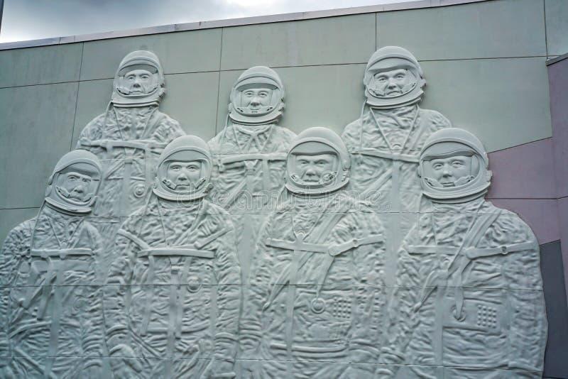 Un mural de los primeros astronautas americanos imagen de archivo libre de regalías