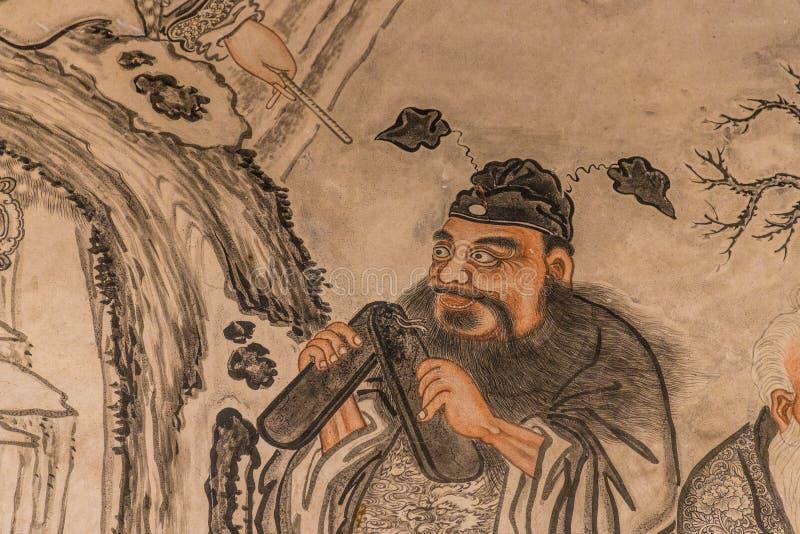 un murale di 8 immortali alla casa del clan di Khoo Khongsi in George Town Malaysia immagini stock libere da diritti