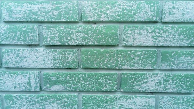 Un muro di mattoni Lavori in mattoni di ceramica recinzione in mattoni Mattoni con una disposizione uniforme Muro verde di un edi fotografie stock libere da diritti