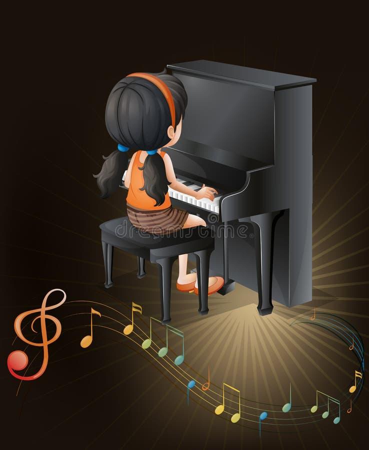Un musicien féminin jouant avec le piano illustration libre de droits