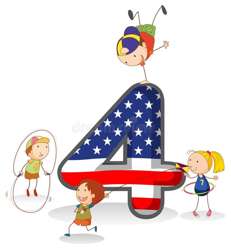Un número Americano-diseñado cuatro ilustración del vector