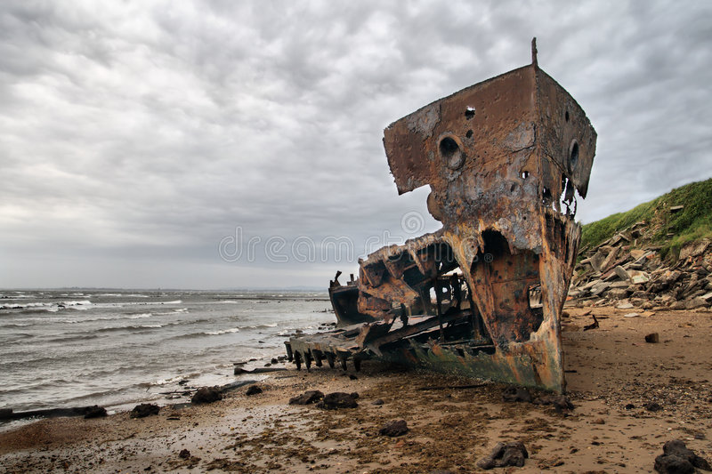 Un naufragio tirato fotografie stock libere da diritti